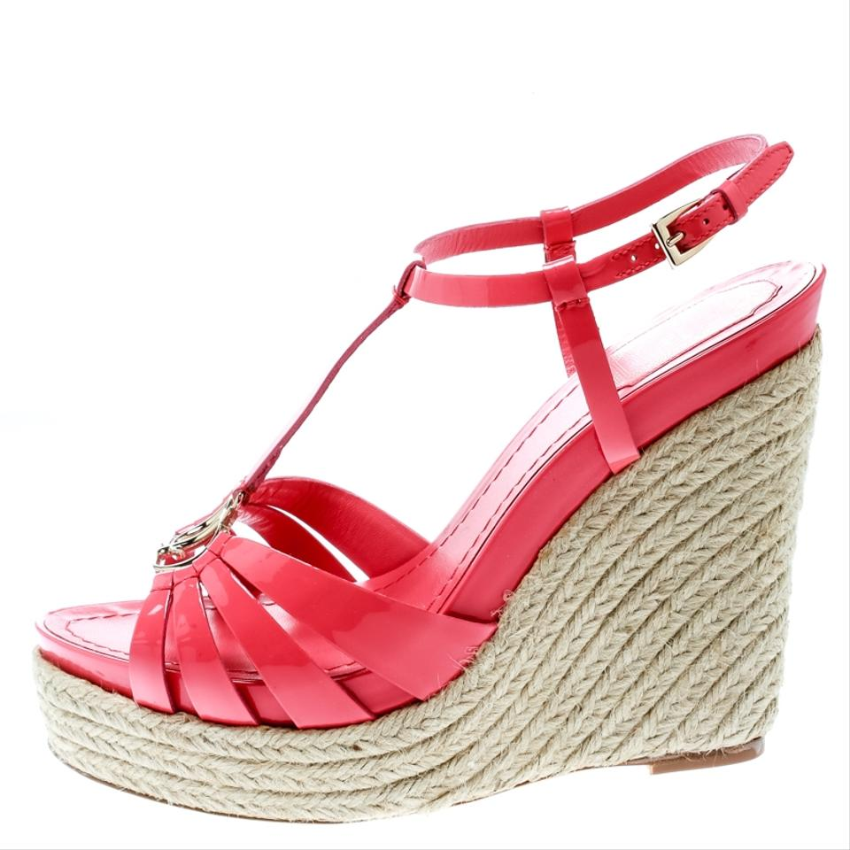 234f39dafac Dior Pink Coral Patent Leather Espadrille Wedge T-strap Platform Si Sandals  Size EU 39.5 (Approx. US 9.5) Regular (M, B) 18% off retail
