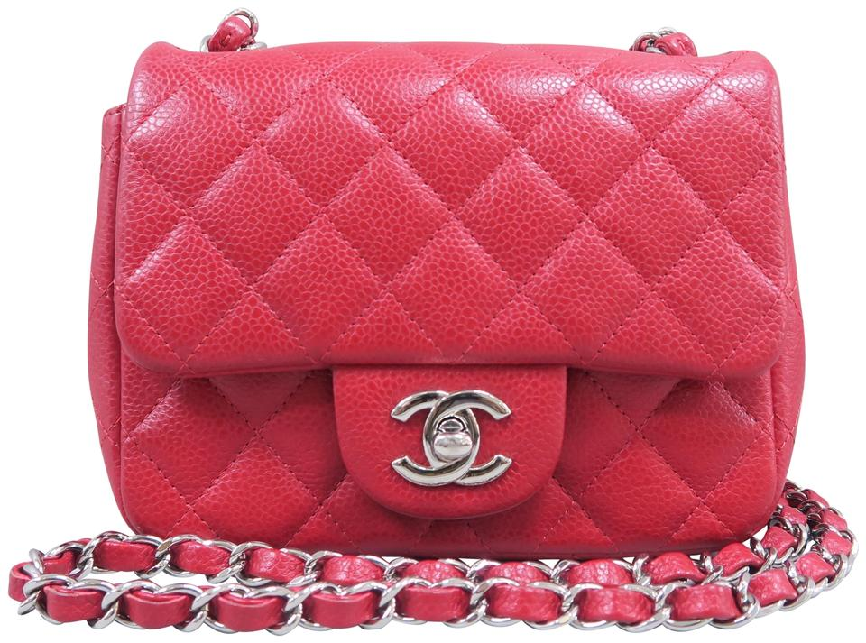 feae93a95ed296 Chanel Classic Flap Classic Mini Square Red Caviar Cross Body Bag ...