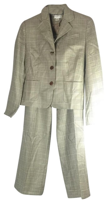 Item - Beige Brown Plaid Power Pant Suit Size Petite 6 (S)