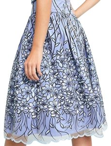 Anthropologie Floral Flower Embroidered Floral Embroidered Skirt Eliza J Blue Daisy