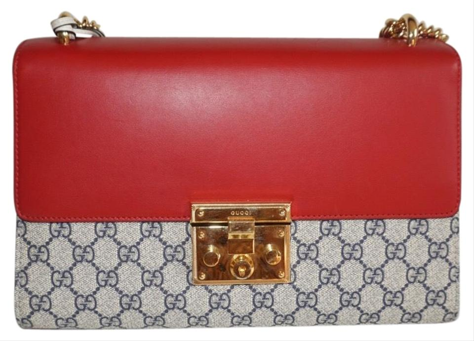 709465f1e2ad01 Gucci Padlock Gold Strap Red Blue Beige Leather Shoulder Bag - Tradesy