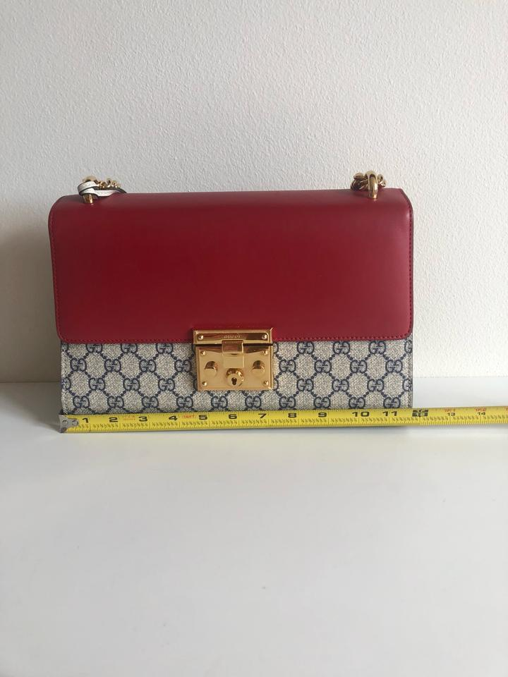 9406a4ff84f3c9 Gucci Padlock Gg Gold Strap Red Blue Beige Leather Shoulder Bag - Tradesy