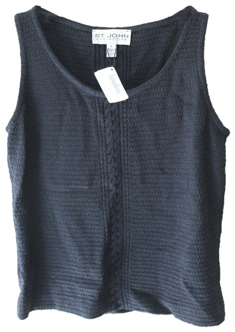 Item - Black Multi Collection Cable Knit Sleeveless Shell Knit P Tank Top/Cami Size Petite 4 (S)
