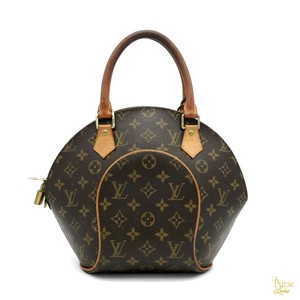 Louis Vuitton Coated Canvas Monogram Ellipse Satchel in Brown