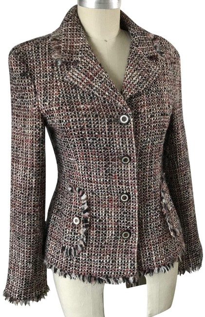 Item - Pink Grey 03a Fringe Shimmer Tweed Jacket Size 6 (S)