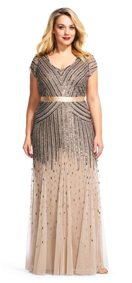 Adrianna Papell Nude Champagne Gold Cap-sleeve Beaded Sequined Gown Plus  Long Formal Dress Size 14 (L) 31% off retail