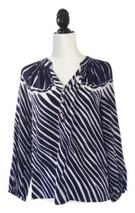 Lilly Pulitzer Silk Nautical Preppy Gold Top Blue