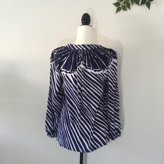 Lilly Pulitzer Silk Nautical Preppy Gold Top Blue Image 3