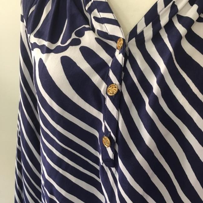 Lilly Pulitzer Silk Nautical Preppy Gold Top Blue Image 5