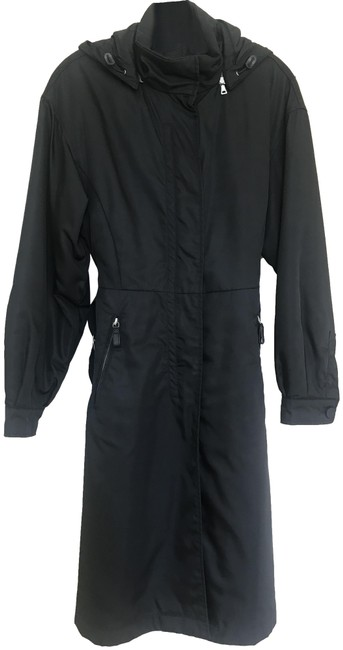 Item - Black Fully Lined Long Nylon with Hoodie Coat Size 8 (M)