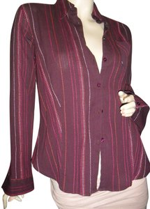 Marks & Spencer British Style Uk 14 Size Made In Morocco Pleated Woven Running Stitches Button Down Shirt burgundy, red, pink, orange, fuschia