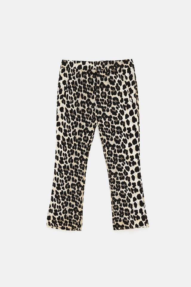 98ceca07 Zara Leopard Animal Print High-rise Flared Crop New Pants Size 14 (L ...