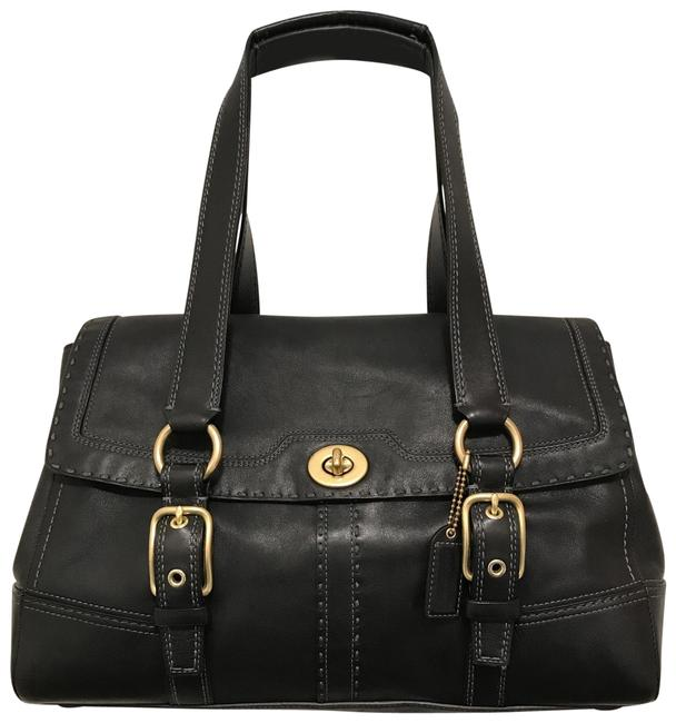 Item - Lg Hampton Flap 11546 Black Gold Leather Satchel