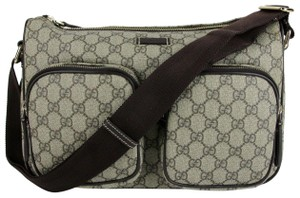 0474f69d1b1c Gucci Men's Beige/Ebony Gg Coated Canvas 246881 8588 Beige/Ebony Messenger  Bag