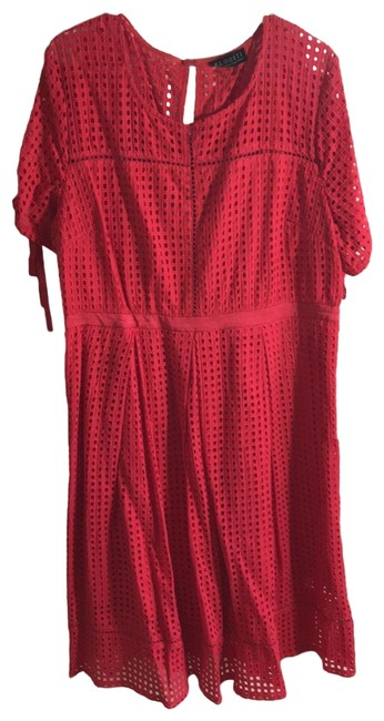 Item - Bright Pink/Red Red/Pink Eyelet Mid-length Short Casual Dress Size 20 (Plus 1x)