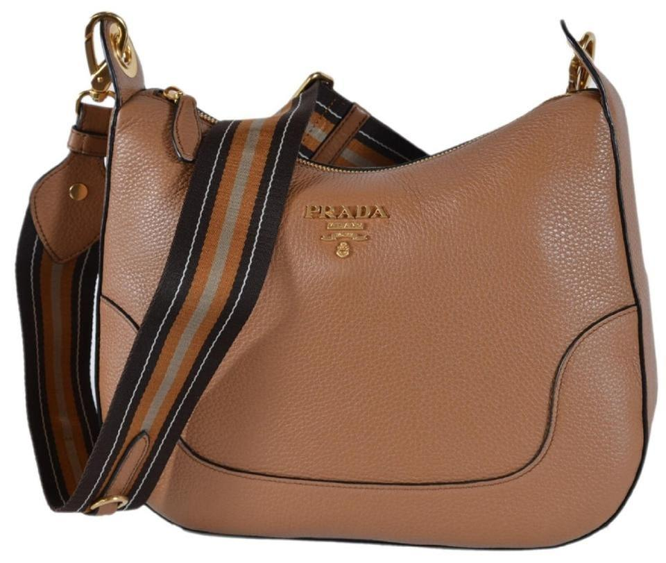 9e6d91cc4007 Prada Vitello Daino Light Nylon Web Stripe 1bc052 Brown Leather Cross Body  Bag