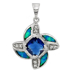 Blue Sapphire Australian Opal Sterling Pendant +chain Necklace