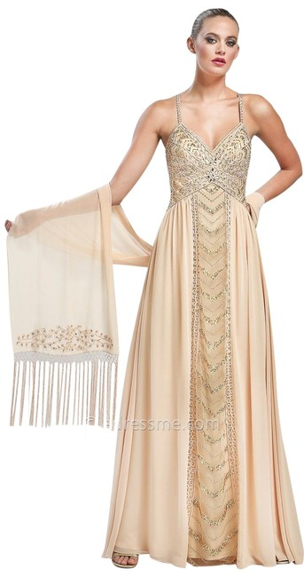 Item - Taupe Empire Chevron Beaded Formal Dress Size 4 (S)
