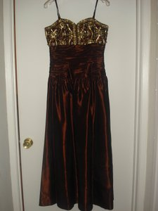 George F. Couture Red/Brown Silk Evening Formal Bridesmaid/Mob Dress Size 10 (M)