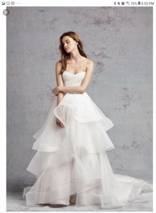 Monique Lhuillier Ivory - Blush Tulle and Lace Bliss 16228 Traditional Wedding Dress Size 10 (M)