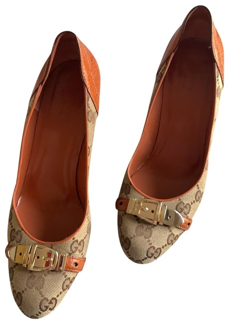 Item - Brown & Tan Gg Canvas Pumps Wedges Size US 8 Regular (M, B)