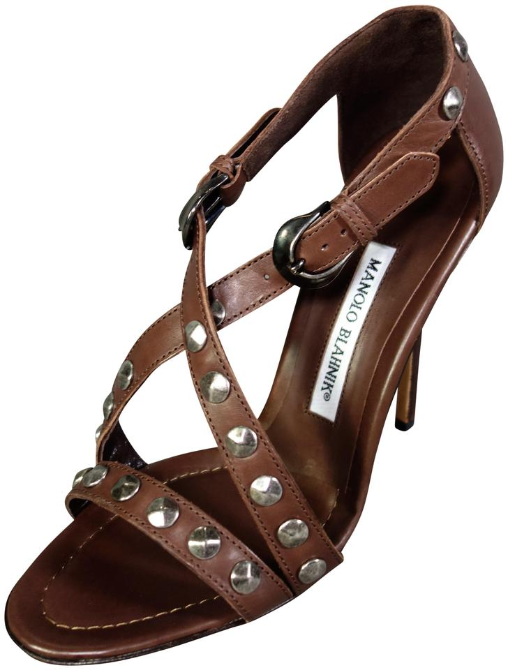 2a40d026242b4 Manolo Blahnik Rich Chocolate Brown Ningia Leather Silver Studded High  Heels Pumps New Sandals