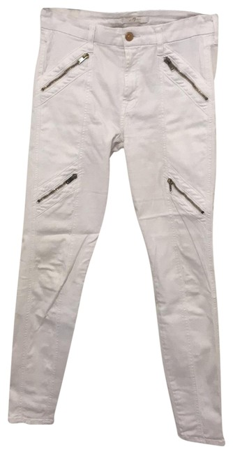 Item - White Sateen Light Wash Panel Zip Moto Skinny Jeans Size 4 (S, 27)