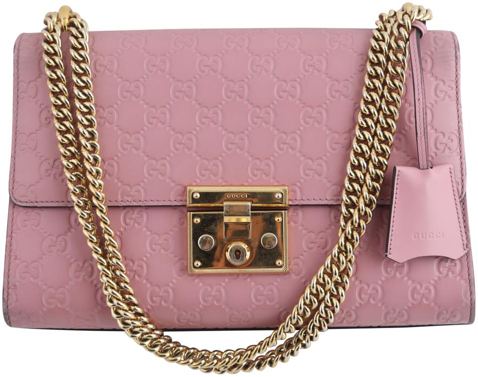 e403987bfe0f3a Gucci Padlock Signature Leather Pink Canvas Shoulder Bag - Tradesy
