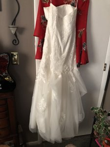David's Bridal Cream Mesh Satin Etc... Off The Shoulders Modern Wedding Dress Size 8 (M)