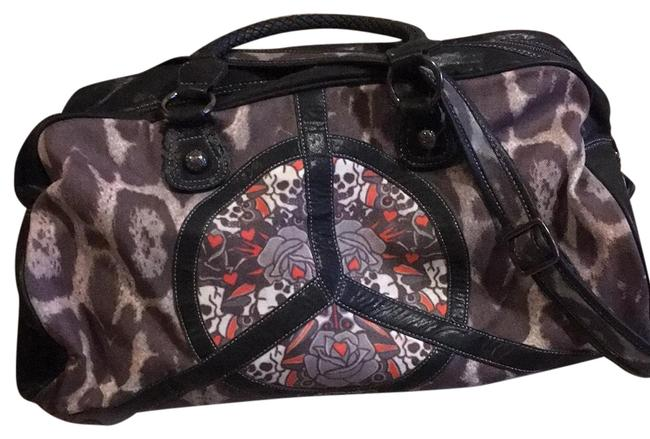 Item - Black and Gray Leopard Print with Skull and Flower Detail Canvas Weekend/Travel Bag