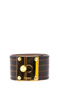 119adc3f2c67 Fendi Fendi Brown Leather Goldmine Bracelet