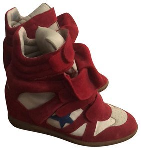 Isabel Marant Red, Blue, Tan, White Wedges