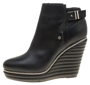 Enio Silla Leather Quilted Wedge Black Boots