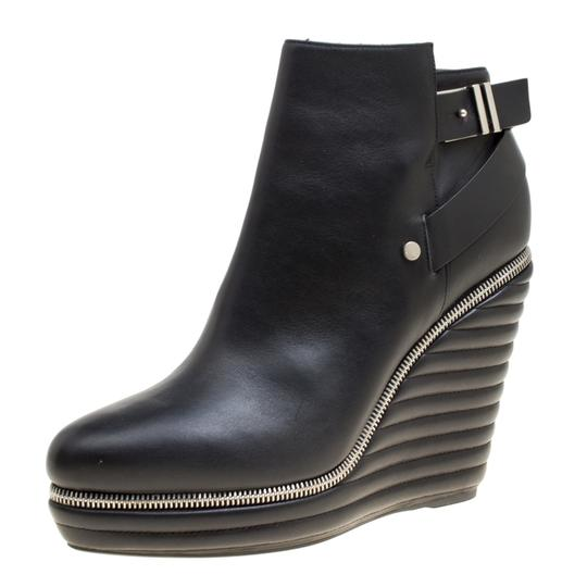 Enio Silla Leather Quilted Wedge Black Boots Image 1