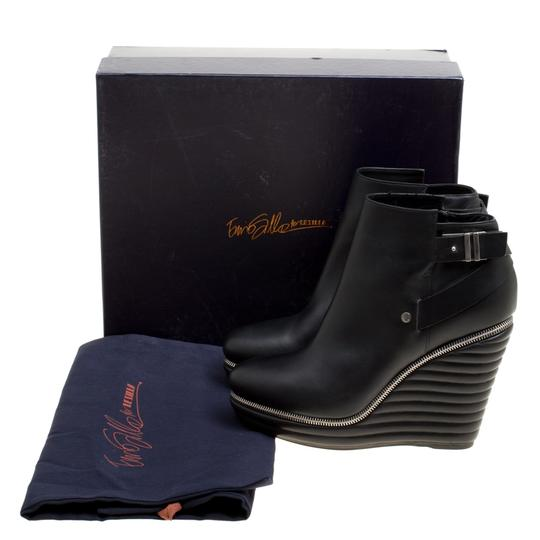 Enio Silla Leather Quilted Wedge Black Boots Image 7
