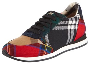 3ce8b1d386d Burberry Made In Italy Luxury Designer Round Toe Platform Logo Black   Red  Check Flats