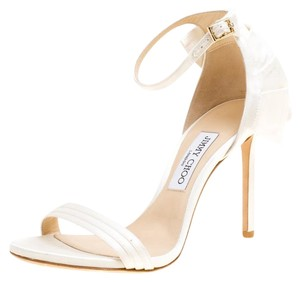 Jimmy Choo Satin Ankle Open Toe White Sandals