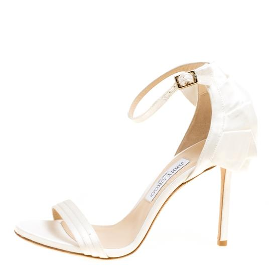 Jimmy Choo Satin Ankle Open Toe White Sandals Image 1