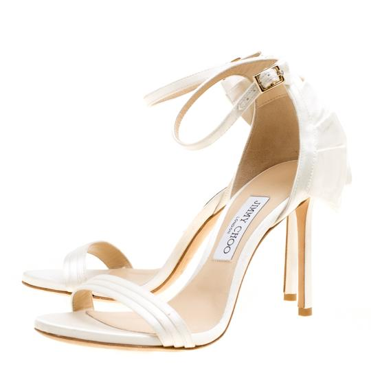 Jimmy Choo Satin Ankle Open Toe White Sandals Image 2