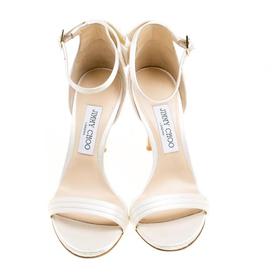 Jimmy Choo Satin Ankle Open Toe White Sandals Image 3