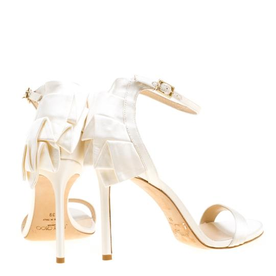 Jimmy Choo Satin Ankle Open Toe White Sandals Image 4