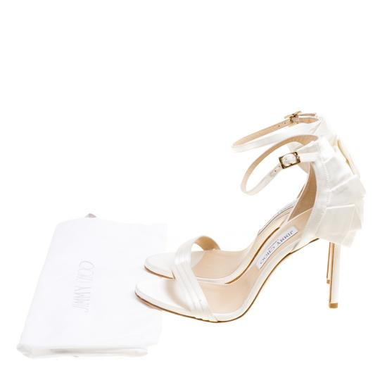 Jimmy Choo Satin Ankle Open Toe White Sandals Image 7