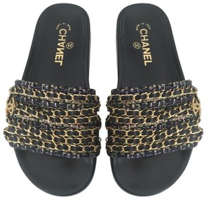 Chanel Slides Tweed Chains Sandals Multi Color Black Mules