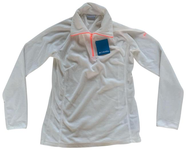 Item - Half Zip Fleece Lightweight White and Neon Orange Sweater