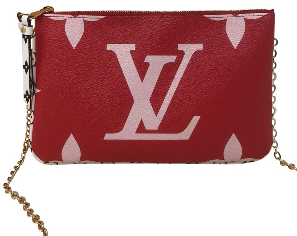 1be9b66bdb Louis Vuitton Pochette Clutch Giant Pouch Monogram / Pink / Red Coated  Canvas Cross Body Bag