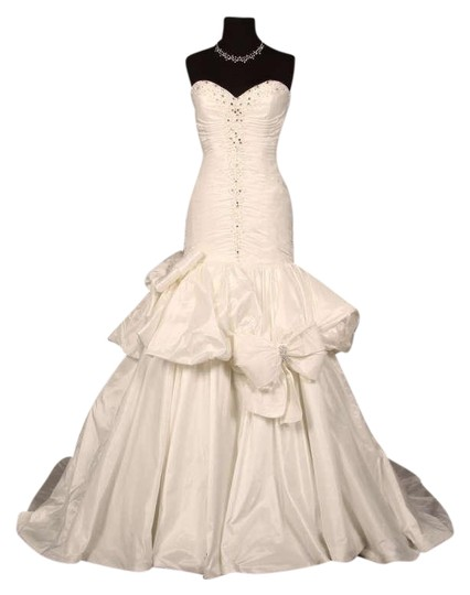 Eve of Milady Silk White Taffeta E13 1445 Formal Wedding Dress Size 8 (M)