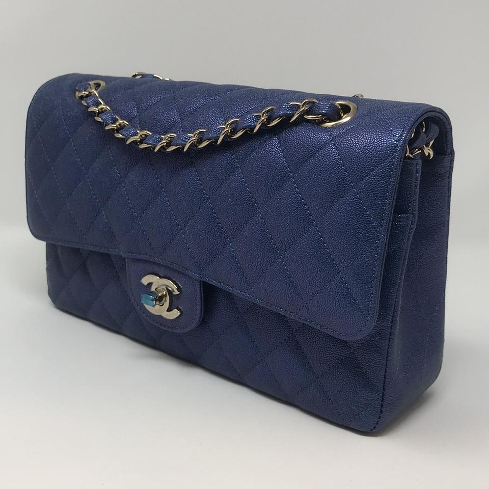 47c917dc4ed5 Chanel Classic Double Flap Blue Caviar Shoulder Bag - Tradesy