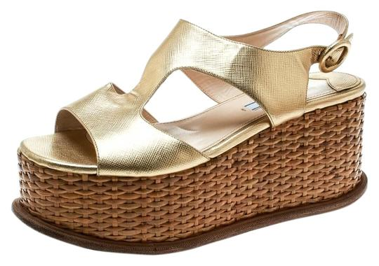 Prada Leather Wedge Gold Sandals Image 0