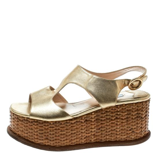 Prada Leather Wedge Gold Sandals Image 1