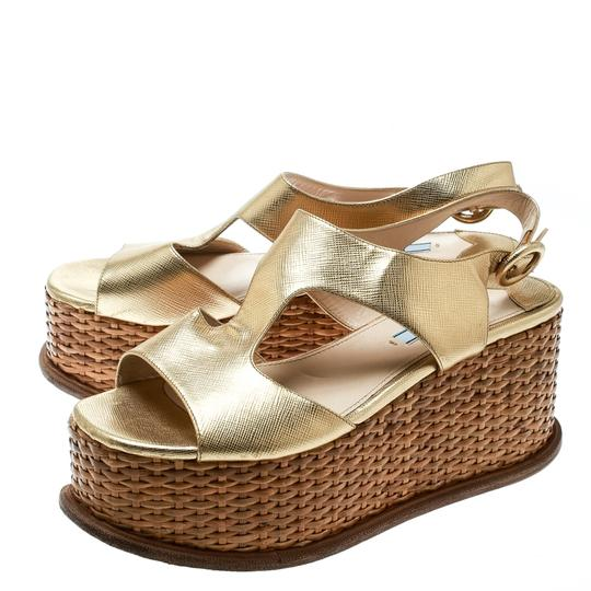 Prada Leather Wedge Gold Sandals Image 2